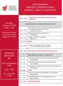 2016 Seminar Agenda