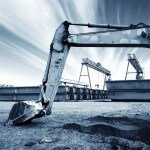 Blue Toned Image of a Construction Site