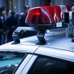Close up on lights on police vehicle