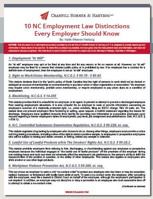 10 NC Employment Law Distinctions Every Employer Should Know