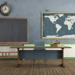 Vintage classroom with blackboard teacher's desk and world map on wall - rendering