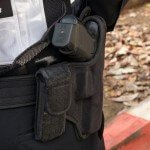 Close up of Weapon in Police Belt Holster